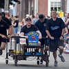 JIM VAIKNORAS/Staff photo The Rowley Police Dept had the best time at the Lions Club Bed Race on Federal Street in Newburyport Thursday night.