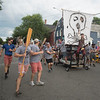 JIM VAIKNORAS/Staff photo Captain Dad rides their pirate ship to the Best in Show award at the Lions Club Bed Race on Federal Street in Newburyport Thursday night.