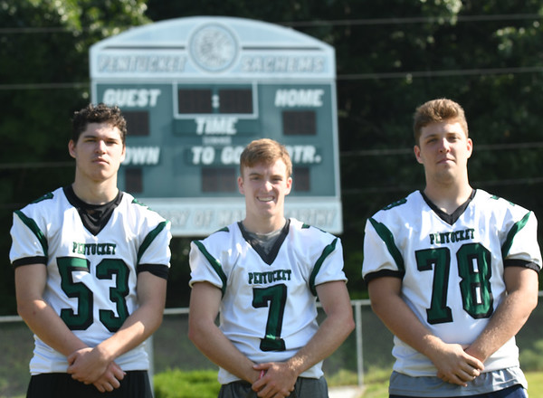 JIM VAIKNORAS/Staff photo :Jordan Journeay, Gus Flaherty, and Jacob Luke have been selected as captains of Pentucket football.