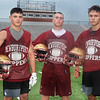 CARL RUSSO/staff photo. NEWBURYPORT NEWS: From left, The 2018 football captains, Seamus Webster, Robert Johnston and Trevor Foley.  The Newburyport high school Clippers held football practice Friday afternoon. 8/17/2018