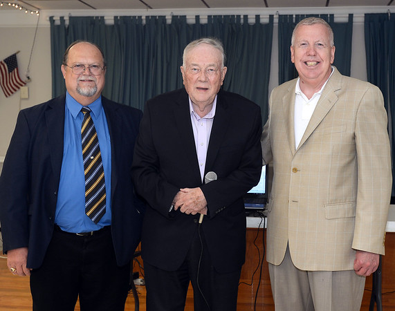 CARL RUSSO/staff photo.  From left, Oliver Carter Jr. , Chairman of the 250th. Anniversary Committee, Bruce Brown, owner of the famous Brown's Lobster Pound and    Bill Manzi, Seabrook's Town Manager. As part of  Seabrook's 250th anniversary, a grand ball banquet was held Friday night at the Raymond E. Walton American Legion, Post 70 hall. Over 50 People attended with some dressed in colonial attire. The dinner of prime rib and chicken was catered by Three Sisters Catering of Seabrook. Bill Manzi, Seabrook's Town Manager opened the event by recognizing Oliver Carter Jr. , Chairman of the 250th. Anniversary Committee and introducing Bruce Brown, owner of the famous Brown's Lobster Pound.  Brown spoke briefly and reminisce about attending  Seabrook's 200th. anniversary celebration. Several people at the banquet also attended the 200th. anniversary.   8/17/2018