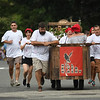JIM VAIKNORAS/Staff photo The Mill River Winery bed at the Lions Club Bed Race on Federal Street in Newburyport Thursday night.