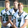 JIM VAIKNORAS/Staff photo :	 Jacob Luke, Jordan Journeay and Gus Flaherty,have been selected as captains of Pentucket football.