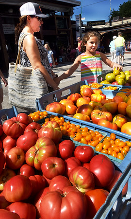 BRYAN EATON/Staff photo. Maisie Costello, 8, and her mom, Dominica, check out tomoatoes from Heron Pond Farm on Sunday morning. The two, from West Newbury, were at the Newburyport Farmer's Market where tomatoes and much more produce are at their peak.