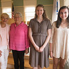 JIM VAIKNORAS/Staff photo 	Yankee Homecoming 2018 youth and senior volunteers of the year: : Newburyport residents Diane Hawkins-Clark and Carol Laroque and Newburyport High School Seniors Hannah Durkee and Caroline Bell at an awards dinner honoring them at the Senior Center in Newburyport Wednesday.