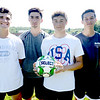 BRYAN EATON/Staff Photo. Pentucket High boys soccer captains, from left, Nick Lamattina, Jake Correnti, Dylan Buchanan and Matt Tinneo.