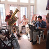 BRYAN EATON/Staff Photo. The Dick Kaplan Excellent Jazz Band plays at the Brigham Manor, one of the stops of the Yankee Homecoming Nursing Home Concert Series.