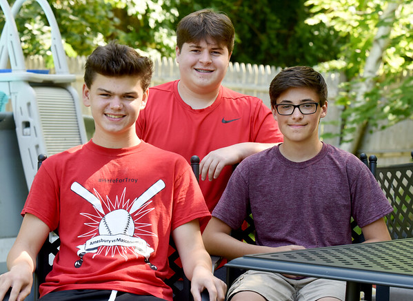 BRYAN EATON/Staff Photo. These Amesbury teenagers rescued a man in distress when he fell off his innertube on the Saco RIver in Conway, N.H. From left, Jeremy Conlin, Zach Morin and Chris Lamott, all 15.