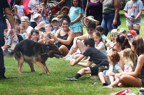 BRYAN EATON/Staff Photo. The crowd gets into the act with a tug-of-war with Dash from the Essex County Sheriffs Department's K-9 Unit.