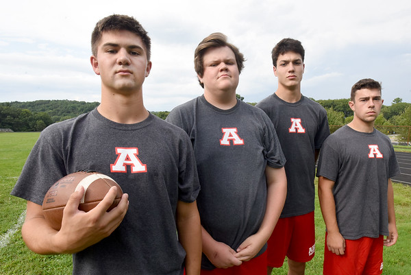 BRYAN EATON/Staff photo. Amesbury High football co-captains, from left, Tucker Molin, Thomas Flanagan, Ethan Catania and John Nelson.
