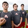 BRYAN EATON/Staff photo. Amesbury High football co-captains, from left, Tucker Molin, Thomas Flanagan, Ethan Catania and John Nelson.
