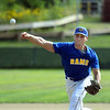 CARL RUSSO/Staff photo Rowley's winning pitcher, Adam Chatterton. The Rowley Rams defeated the Manchester Essex Mariners 6-2 in baseball action of game four of the ITL Finals.  8/17/2019