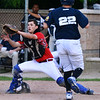 CARL RUSSO/Staff photo. Newburyport Post 150 Senior Legion catcher, Tim Chianca of Georgetown is unable to make the play at home in time as Lawrence's Christian Varona crosses home plate. Lawrence Legion Post 15 defeated Newburyport Post 150 Senior Legion 4-0 in Monday night baseball action. 6/24/2019