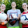 BRYAN EATON/Staff Photo. Amesbury High girls soccer team captains, from left, Meghan McElaney, Alli Napoli and Ashlee Porcaro.