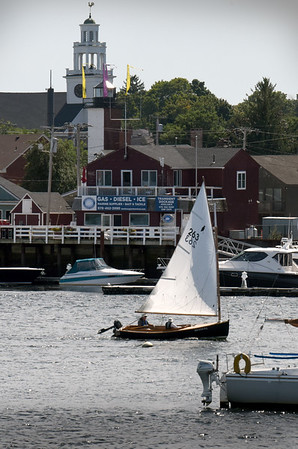 BRYAN EATON/Staff Photo. A sailboat goes against the tide, but with the wind as it heads up the Merrimack River in downtown Newburyport on Monday afternoon. After the rain overnight, sailing weather looks good into the beginning of the Labor Day weekend.