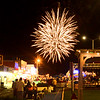 BRYAN EATON/Staff photo. Fireworks explode over Broadway at Salisbury Beach like they do every Saturday night during the summer, weather permitting. The pyrotechnics, following the accompanying music series, sponsored by the Salisbury Beach Partnership, will have its finale for the season this coming Saturday.