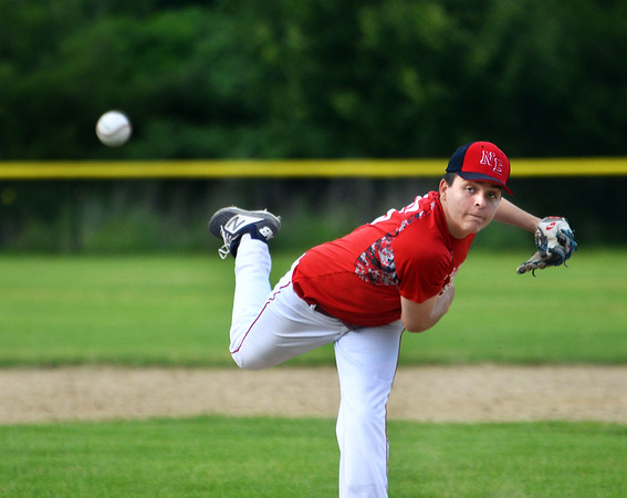 CARL RUSSO/Staff photo. Newburyport Post 150 Senior Legion pitcher, Shane Rooney in action against Lawrence Post 15. Lawrence Legion Post 15 defeated Newburyport Post 150 Senior Legion 4-0 in Monday night baseball action. 6/24/2019