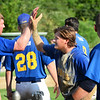 CARL RUSSO/Staff photoThe Rams celebrate the victory. The Rowley Rams defeated the Manchester Essex Mariners 6-2 in baseball action of game four of the ITL Finals.  8/17/2019