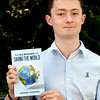 """BRYAN EATON/Staff Photo. Jordan Cynewski is a 22 year-old recent college gradueate from Amesbury who just published his first book, """"All for One: The Big Business of Saving the World."""""""