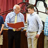 BRYAN EATON/Staff Photo. Amesbury Mayor Ken Gray honored the three Amesbury teens who rescues a man in the Saco River in New Hampshire last month. From left, Chris Lamott, Jeremy Conlin and Zach Morin.