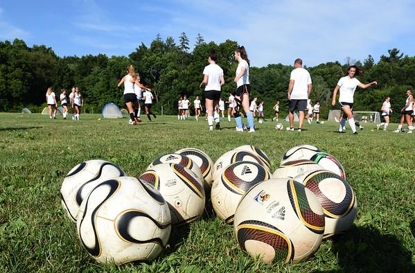 BRYAN EATON/Staff Photo. Newburyport High School girls soccer team in tryouts.