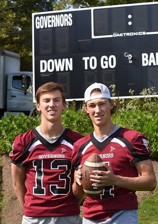 BRYAN EATON/Staff Photo. Brothers Peyton O'Leary, left, and Shane play on the Governor's Academy football team.