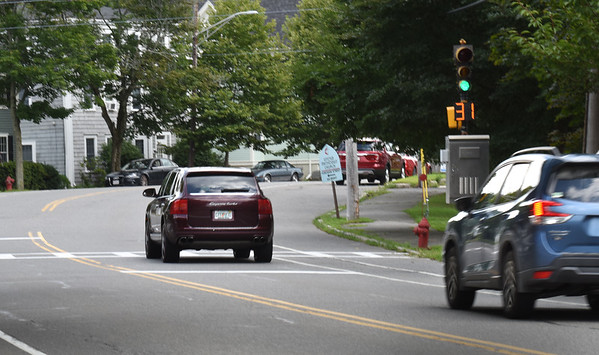 BRYAN EATON/Staff Photo. Newburyport is working on a traffic calming plan for eastern end of High Street, between Allen and Marlboro Streets, where here, at the top of Bromfield Street is a flashing sign showing people their speed.