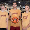 CARL RUSSO/Staff photo From left, Newburyport high junior, Jacob Robertson, seniors Parker McLaren and Ryan Archie.  Members of the Newburyport basketball team playing in the Hoops For Hope summer games at Lawrence high. 7/02/2019