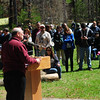JIM VAIKNORAS/Staff photo Leo Roy, DCR Commissioner, speaks during the 100th Birthday party for the Harold Parker State Forest Saturday. Almost 700 people attended the event enjoying cake , hot dogs, games, fishing, and programs to learn about the history of the forest.