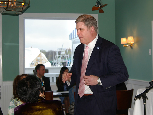 ANGELJEAN CHIARAMIDA/Staff photo. State Rep. James Kelcourse, R-Amesbury, arrives to update Salisbury Chamber of Commerce members on the latest goings on on Beacon Hill.