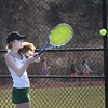 BRYAN EATON/Staff photo. Pentucket's Maggie Aulson in first singles with Ipswich player Audra Morrow.