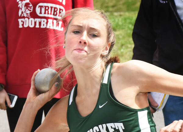 BRYAN EATON/Staff photo. Pentucket shot putter Saige Tudisco.