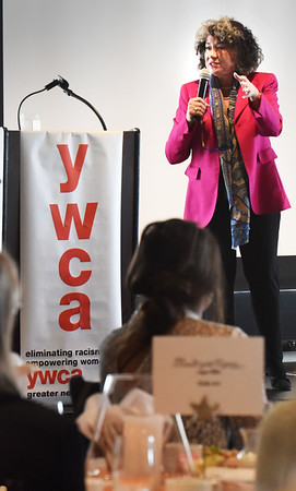 "BRYAN EATON/Staff photo. Humorist Gina Barreca was guest speaker at the YWCA Engaging Communities Luncheon ""Empowering Women."""