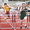 BRYAN EATON/Staff photo. Newburyport's Cullen Sullivan, left, and Pentucket's Jack Clohisy in the 100 yard hurdles.