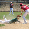 JIM VAIKNORAS/staff photo Newburyport's Jack Cahalane tags a Lynn Classical player during their game at Pettingell Park in Newburyport Saturday.