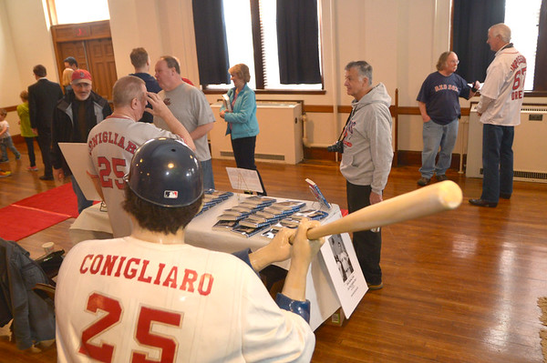 JIM VAIKNORAS photo A statue of Tony Conigliaro greets visitors to Red Sox day at the Masonic Temple in Newburyport Saturday.