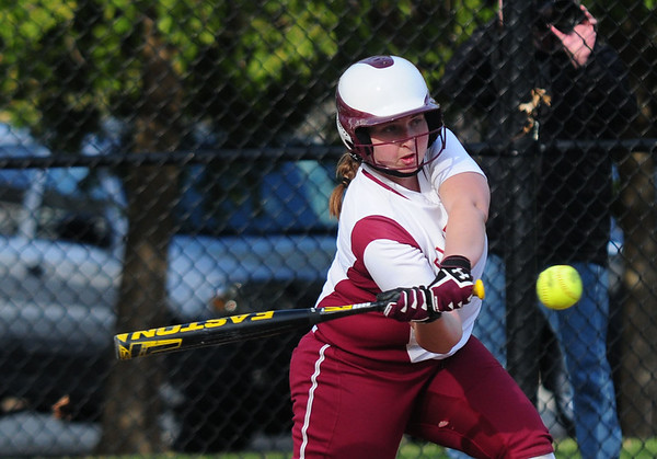 JIM VAIKNORAS photo Newburyport's Caitlin Clarke makes contact with a pitch during the Clippers game against North Andover at Pioneer Park in Newburyport Thursday.