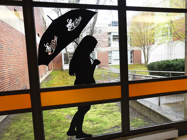 BRYAN EATON/Staff photo. Appropriate artwork is part of a window at Triton Regional High School which looks out upon a rain-soaked courtyard on Tuesday afternoon.