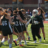 JIM VAIKNORAS photo  Pentucket girls lacrosse team celebrates their victory over Triton at Triton Friday.