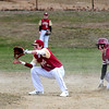 JIM VAIKNORAS photo Gloucester's Matt Heckmann is save after stealing second as  Newburyport's Tommy Furlong waits for the throw during their game at Stage Fort Park in Gloucester Saturday.