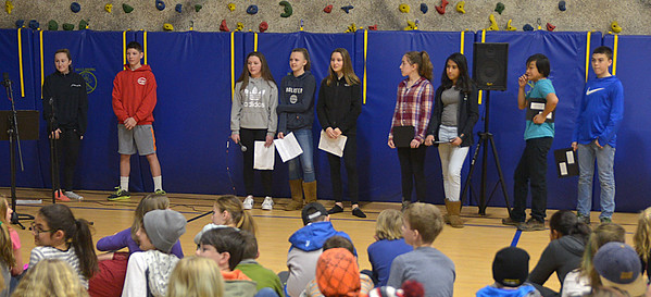 JIM VAIKNORAS photo Students rehearsal at the River Valley Charter School Friday for an educational program focusing on the Merrimack River's endangerment. The program will be presented Thursday at the Firehouse Center for the Arts