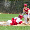 JIM VAIKNORAS/staff photo Mascomonet's Alex Zenus slide back to 2nd as Newburyport's Tommy Furlong during their game at Pettingell Park in Newburyport Thursday.