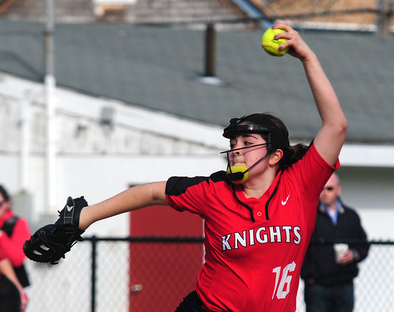 JIM VAIKNORAS photo North Andover's Julia Chittich pitches against Newburyport at Pioneer Park in Newburyport Thursday.