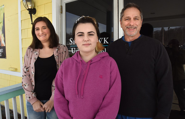 BRYAN EATON/Staff photo. Sparhawk School students Lola Getz, left, Miky Foley and teacher Bob DeLibero are going to the Massachusetts Young Playwrights' Project Festival.