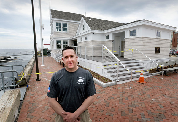 BRYAN EATON/Staff photo. Newburyport harbormaster Paul Hogg outside his department's new headquarters the offices of which open next Tuesday. The public restrooms and facilities for boaters will open later with a ribbon-cutting planned for May 11.