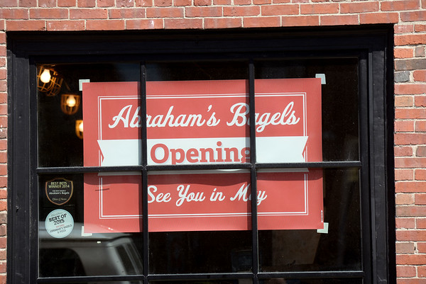 BRYAN EATON/Staff photo. After a devastating fire last June, Abraham's Bagels in Newburyport is to open next month.