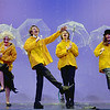 "JIM VAIKNORAS photo Sadie Fountain as Lina Lamont , Christian Kjaer as Cosmo Brown, Vincent KcKeown as Don Lockwood, and  Isa Garcia as Kathy Selden in the Nock Middle School production of ""Singing in The Rain"""