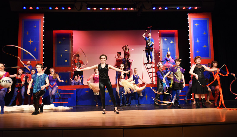 """BRYAN EATON/Staff photo. The cast of """"Pippin"""" in the opening act of the upcoming performance at Amesbury High School."""