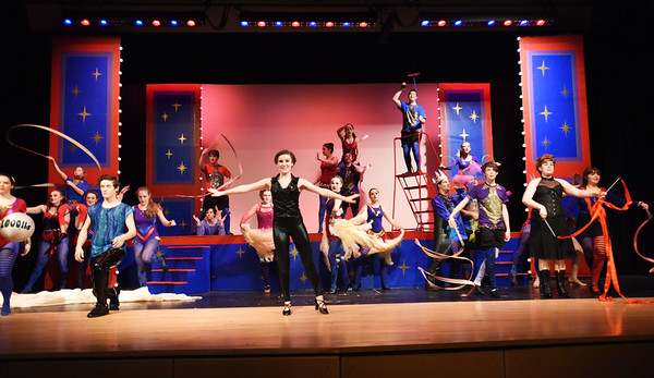 "BRYAN EATON/Staff photo. The cast of ""Pippin"" in the opening act of the upcoming performance at Amesbury High School."