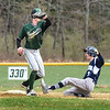 BRYAN EATON/Staff photo. Triton pitcher slides into second on a double as Pentucket's Jacob Deziel waits for the throw.
